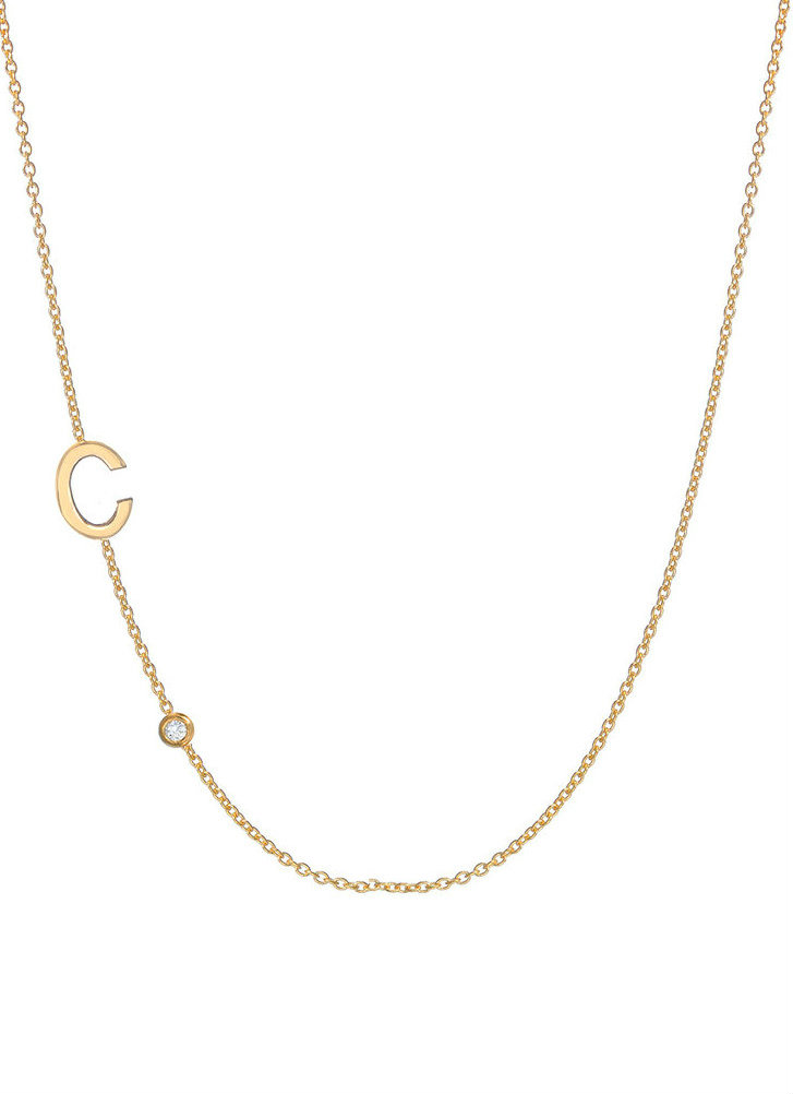 Gold letter necklace letters by zoe 14k gold asymmetrical initial and bezel diamond necklace aloadofball Images