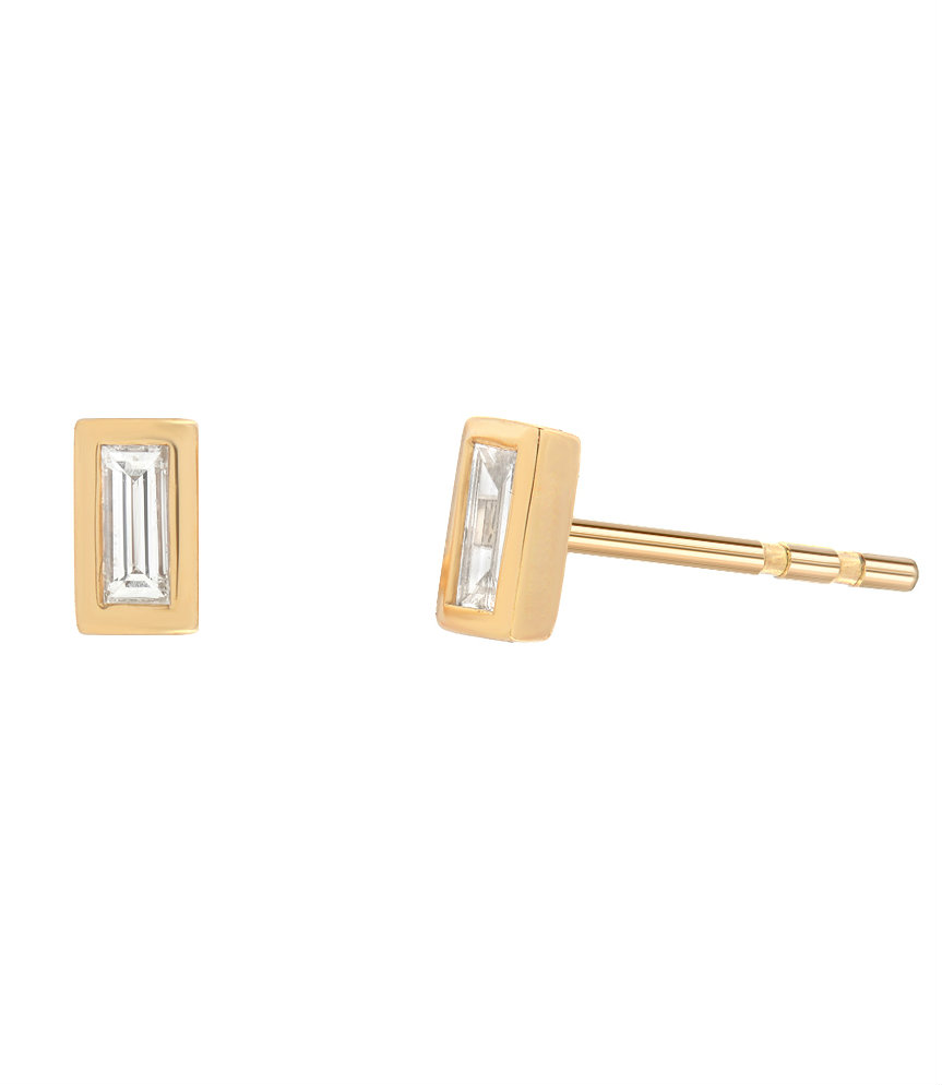 diamond product baguette huggie yellow earrings yg gold