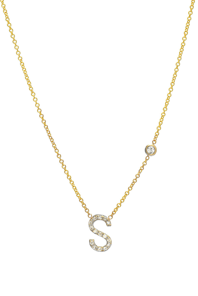 Diamond letter necklace zoe lev jewelry diamond initial necklace thecheapjerseys