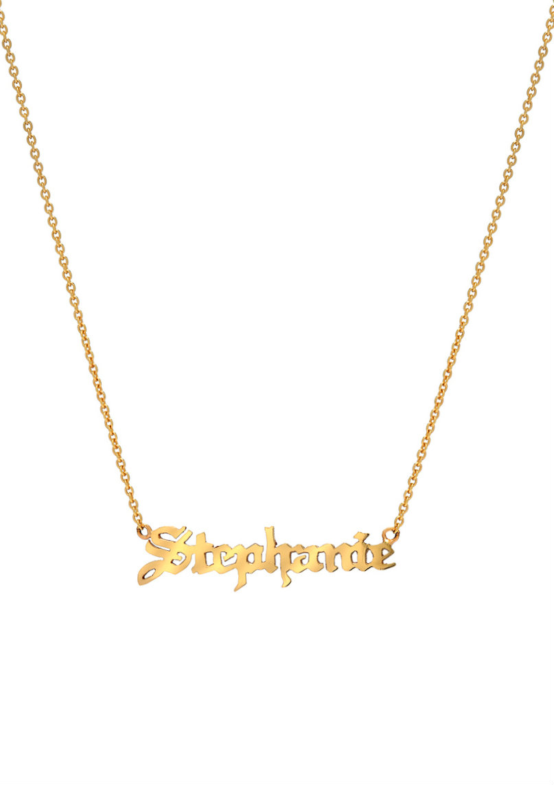 14k gold name gothic necklace Zoe Lev Jewelry