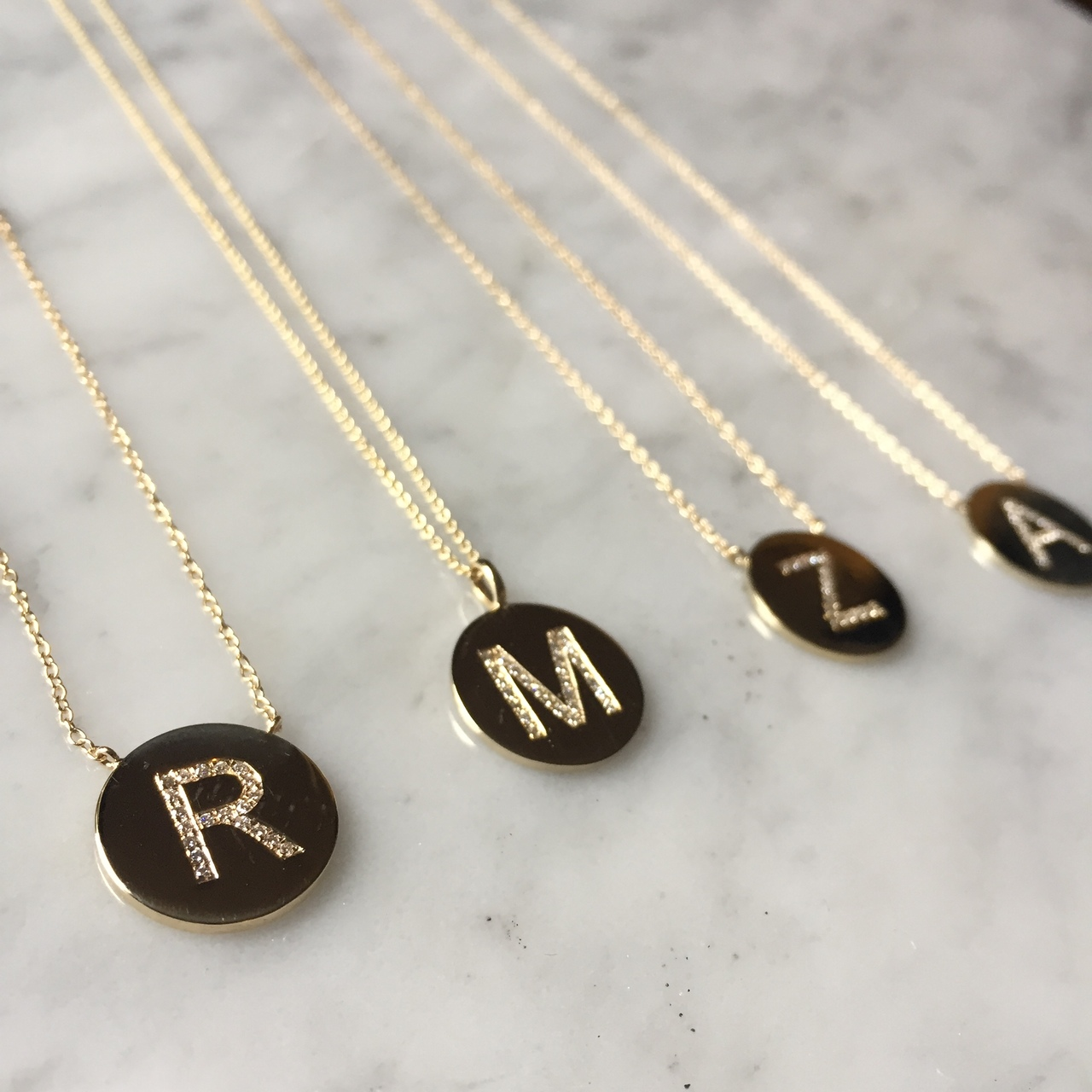 Diamond initial disc necklace zoe lev jewelry 14k gold diamond initial disc necklace aloadofball Image collections