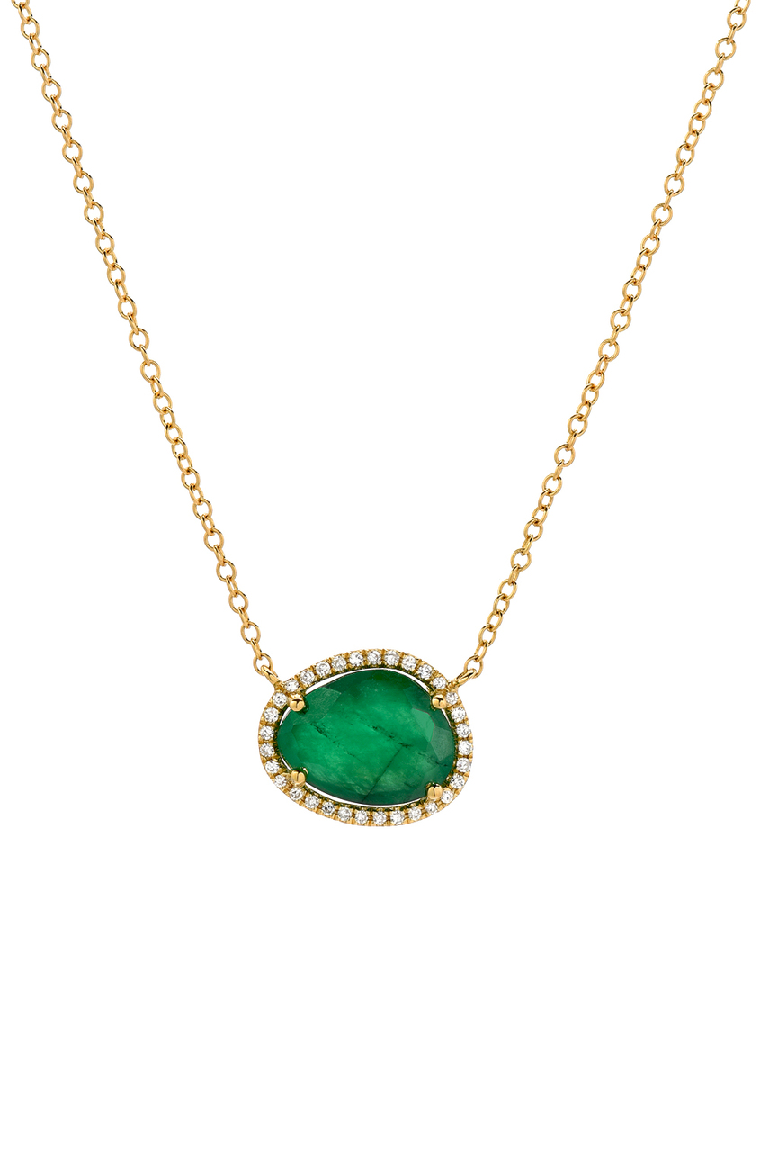 tw necklace with diamonds emerald gold in white
