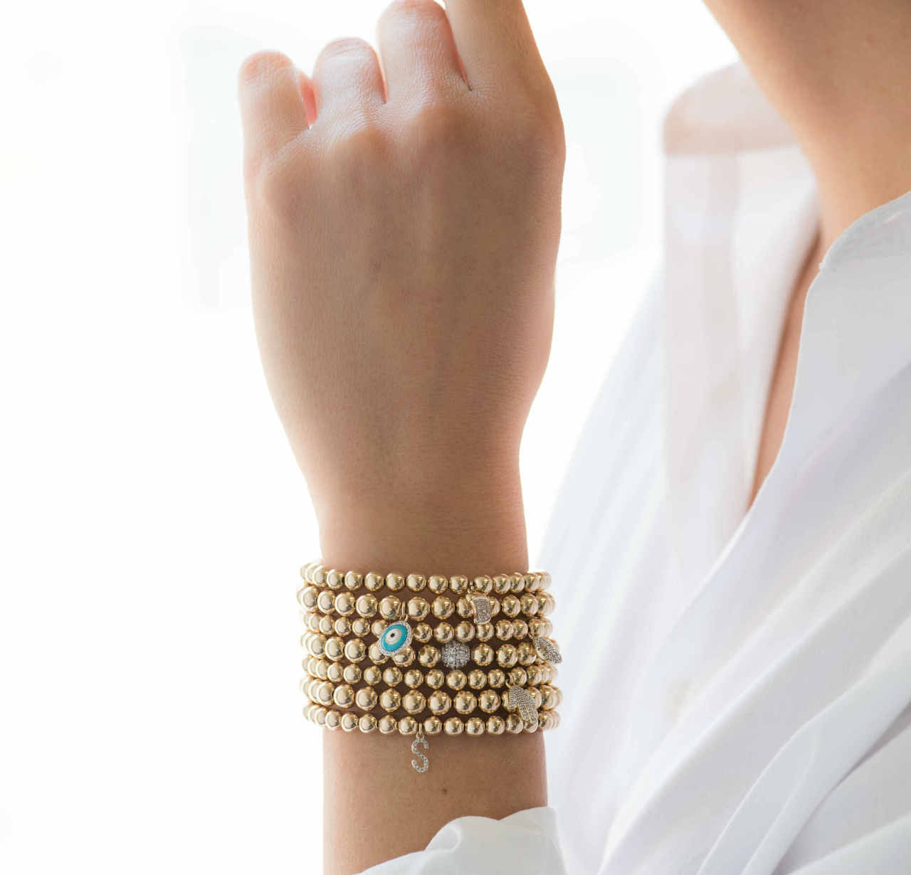 zoe bracelet bead gold lev jewelry zoelev with diamond