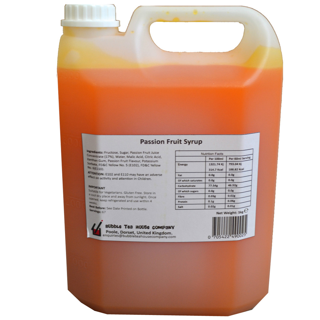 5kg(4L) Syrup for Bubble Tea - PASSION FRUIT