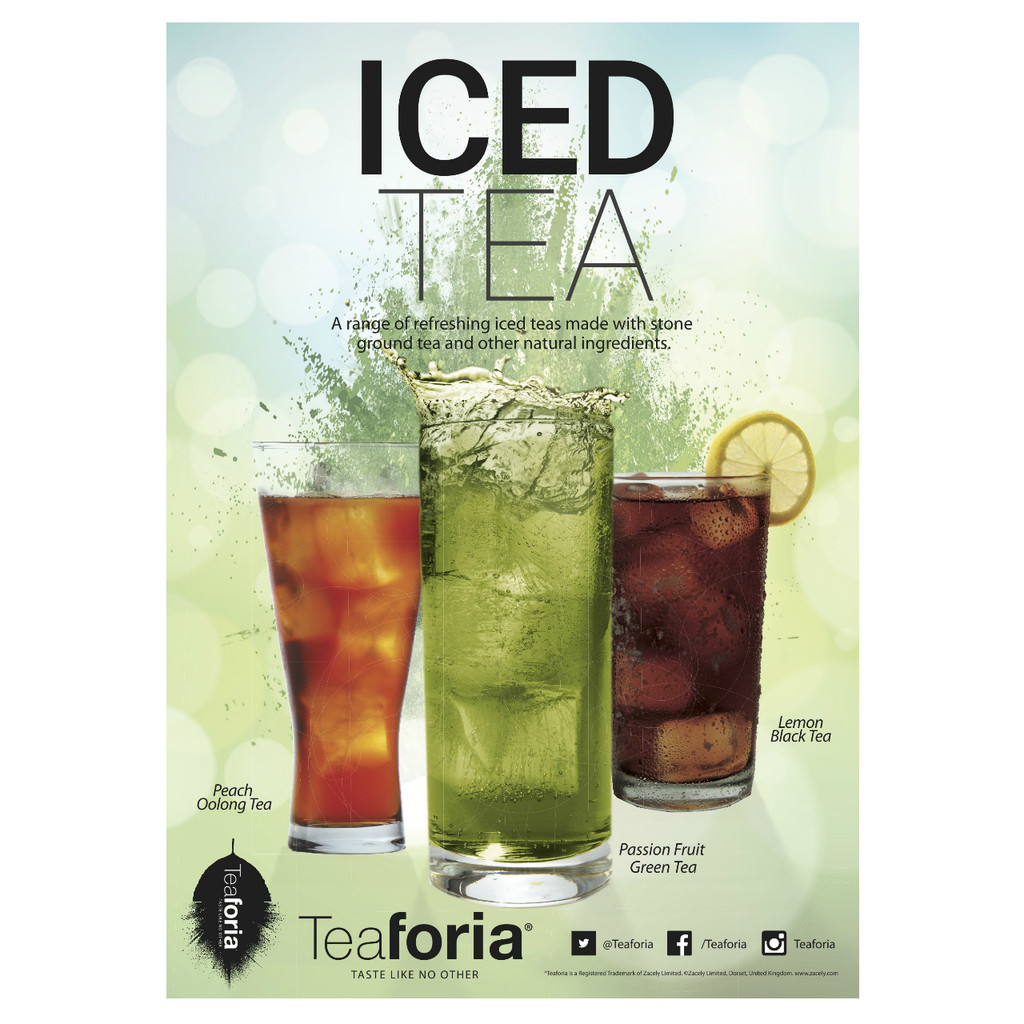 Teaforia Iced Tea POS marketing materials for promotion at coffee shops or food service outlets.