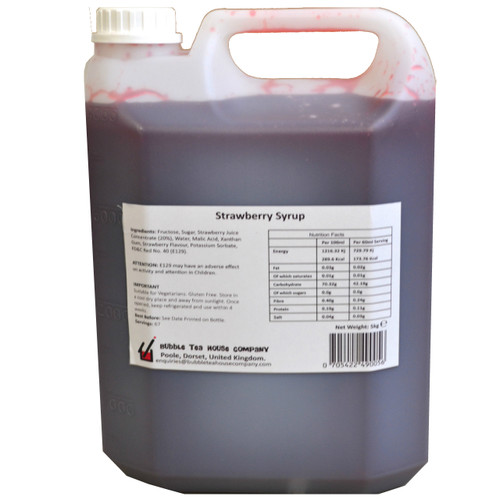 5kg (4L) Syrup for Bubble Tea - STRAWBERRY