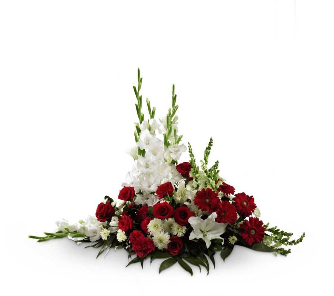 Crimson white arrangement rose blossom crimson white rose and flower arrangement mightylinksfo