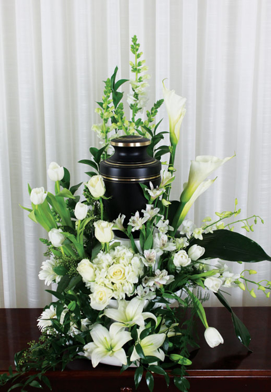 Loved and missed urn arrangement rose blossom loved and missed urn flower arrangement with white roses mightylinksfo