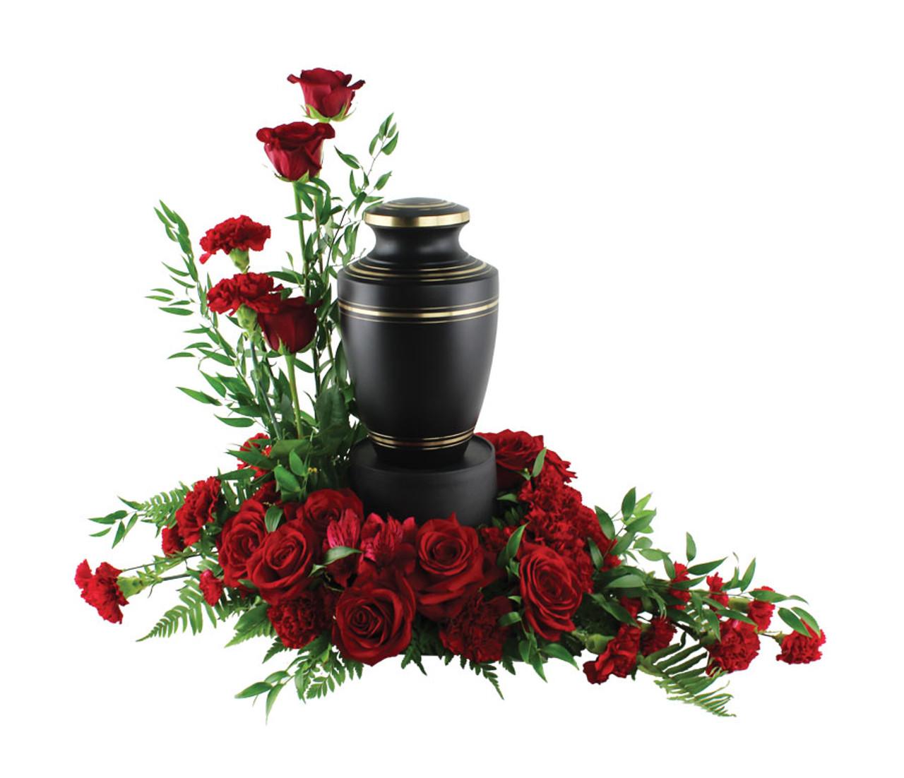 Red Rose And Carnations Urn Arrangement Rose Amp Blossom