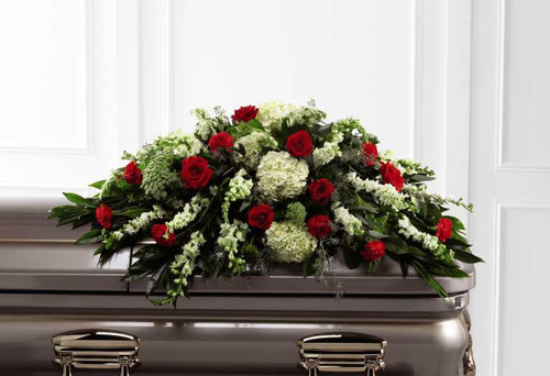 Sincerity Casket Spray Flower Arrangement With Red Roses