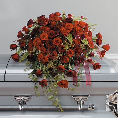 Loving Red Roses Casket Spray Flower Arrangement