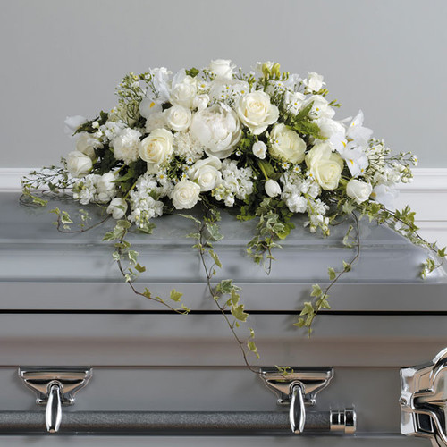 Loving Memories Casket Spray Flower Arrangement With White Roses