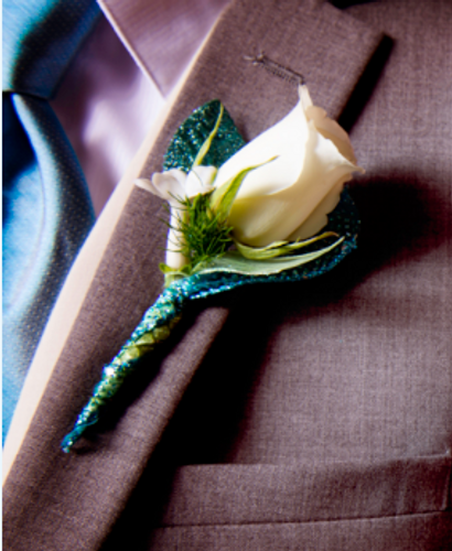 White and Teal Boutonniere