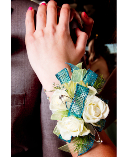 Teal and White Wrist Corsage