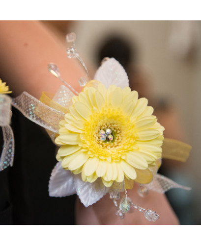 Yellow Gerb Wrist Corsage