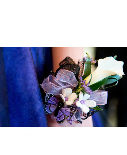 White and Lavender Wrist Corsage