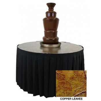 "Buffet Enhancements Chocolate Fountain Table, Metallic Laminate Finish, 48"" Dia, Copper Leaves"