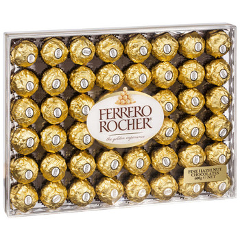 Ferrero Rocher Fine Hazelnut Chocolates Gift Box 48 Count Tray