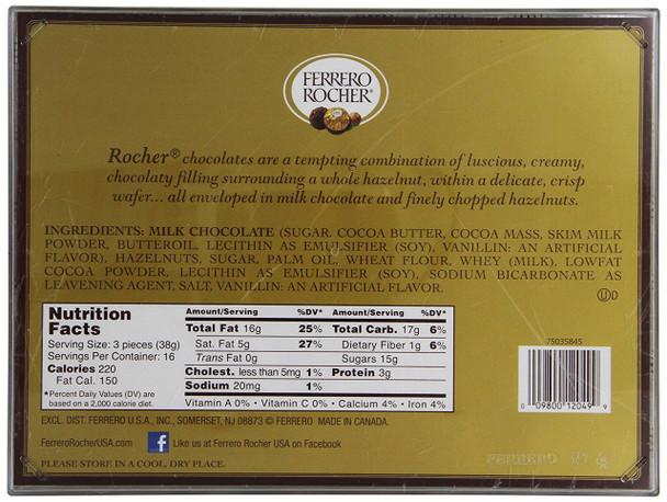 Ferrero Rocher Fine Hazelnut Chocolates Gift Box 48 Count Tray