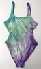 Womens Maillot tie dye high legged-sea anemone