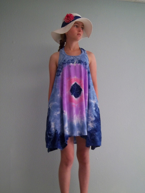 Girls trapeze dress with pockets- lavender lime blue