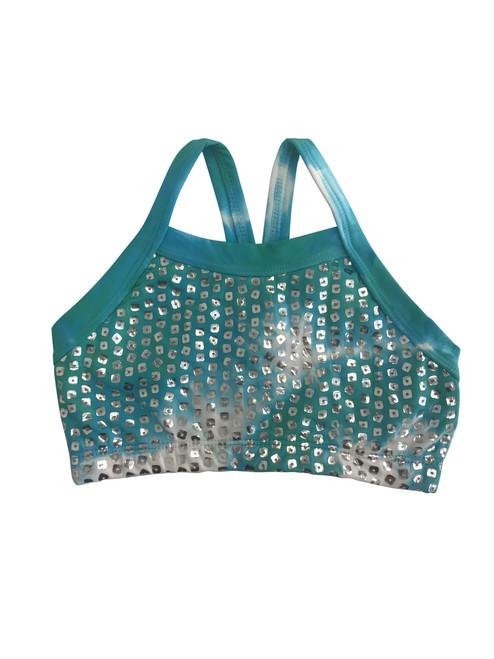 Girls dance top-Silver shimmer tie dye- Seafoam