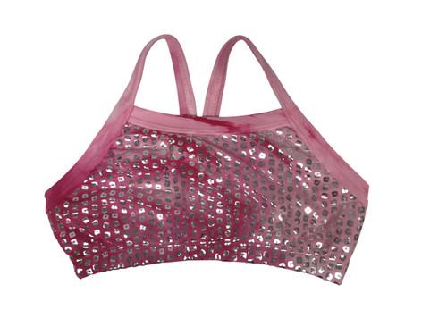 Girls dance top-Silver shimmer tie dye- Camilla pink