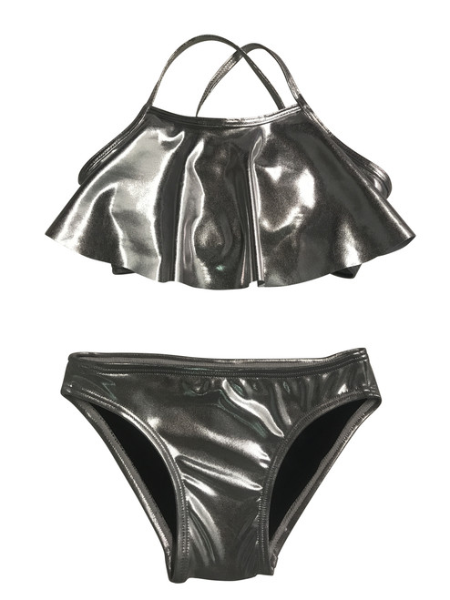 Girls flutter top two piece silver