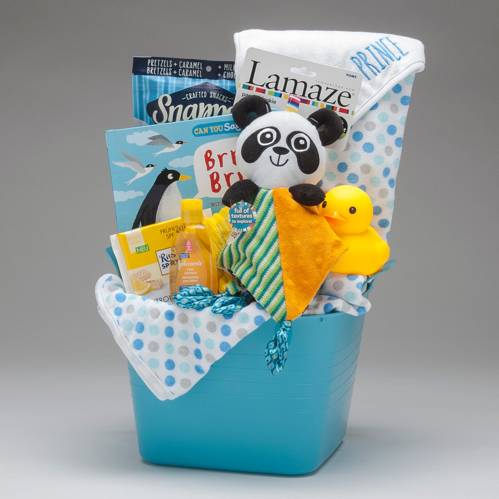 This baby BOY toy bucket comes loaded with items suitable for tub time, and a brightly patterned & textured Panda Blankie by Lamaze which is part soft blanket and part activity toy.