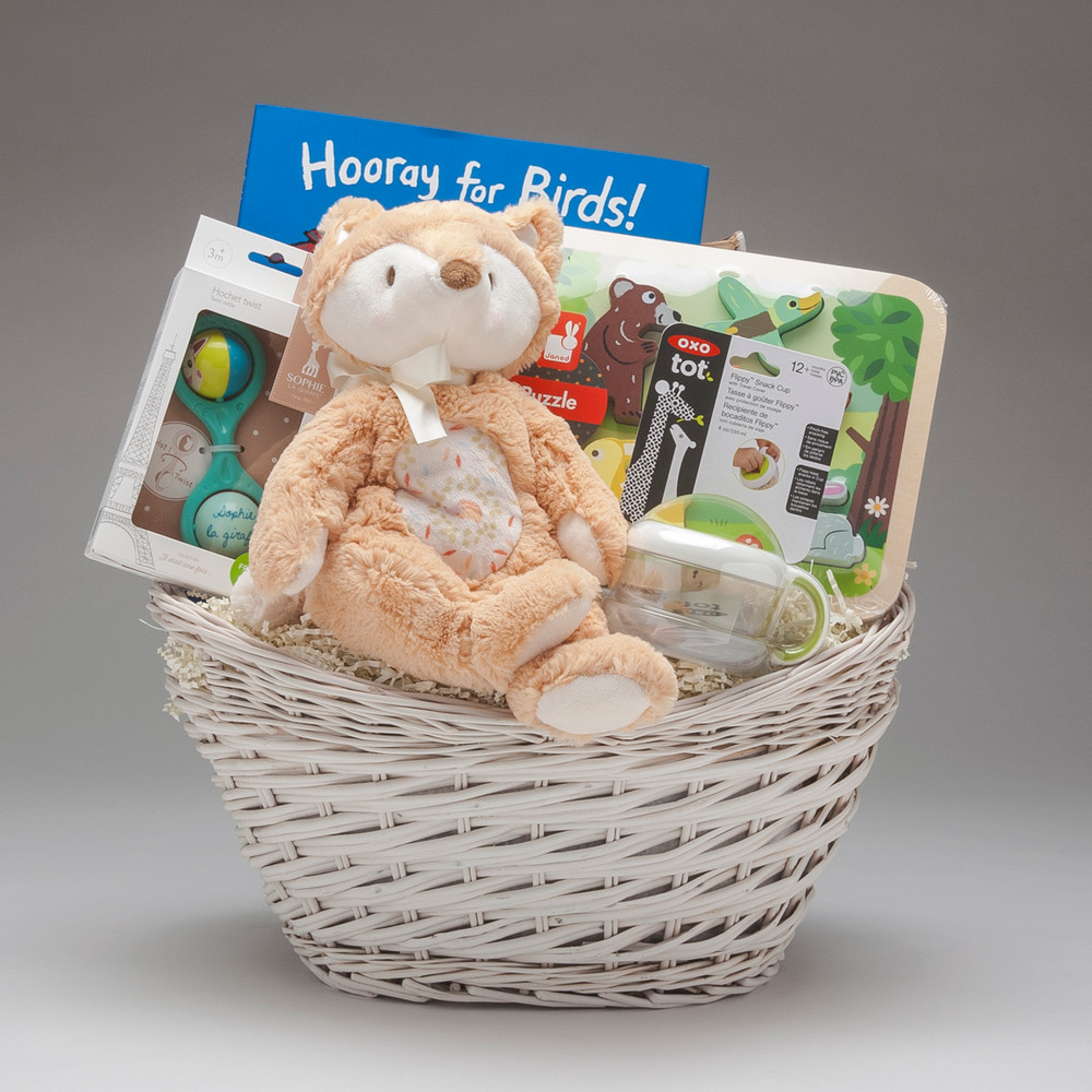 """Ooooh do we ever LOVE this baby basket, with its shy Fox Plumpie by Douglas (which is under stuffed, extra squishy and overly loveable), and the gorgeous Lucy Cousins book """"Hooray for Birds"""", this gift of Woodland Critters will be warmly welcomed! Gender neutral gift."""