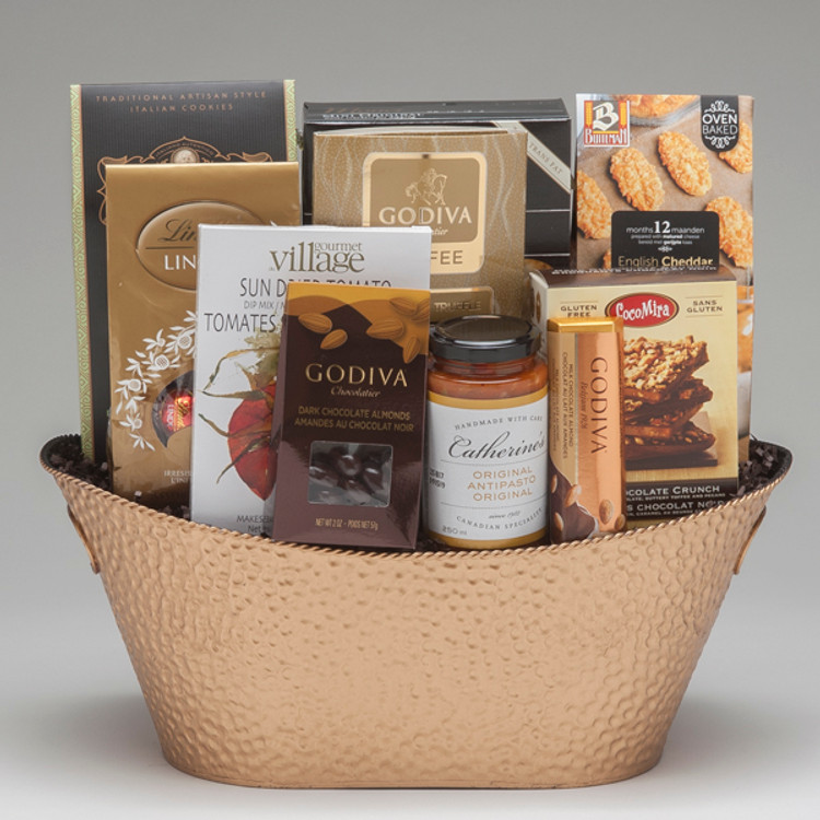 This elegant gift comes loaded with a traditional selection of gourmet foods & chocolates, and features Buiteman's authentic savoury cheese biscuits, and CocoMira Butter Crunch (made in Canada!) which we think are wonderful! This gift is ideal for clients, and of course, for friends and family too!