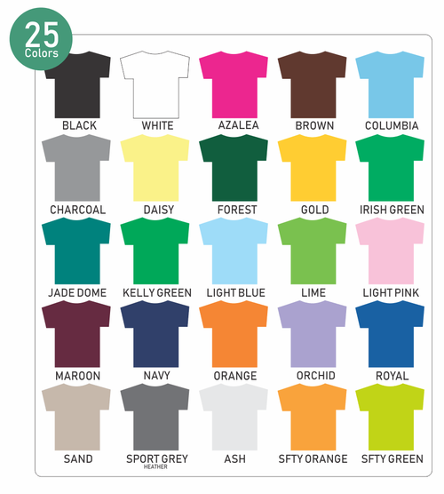 Apparel Color Chart Greek Letter Me By Ss Custom Designs