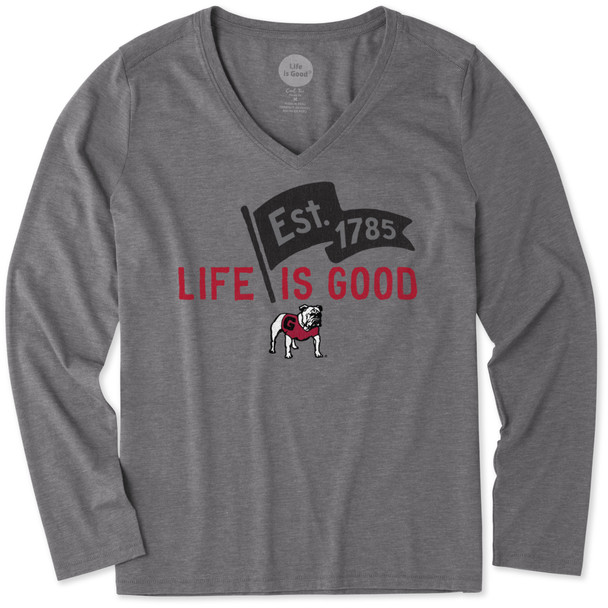 Life Is Good® Womens Georgia Pennant V-neck Long Sleeve T-shirt