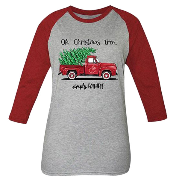 Simply Faithful O Christmas Tree 3/4 Sleeve Raglan T-shirt