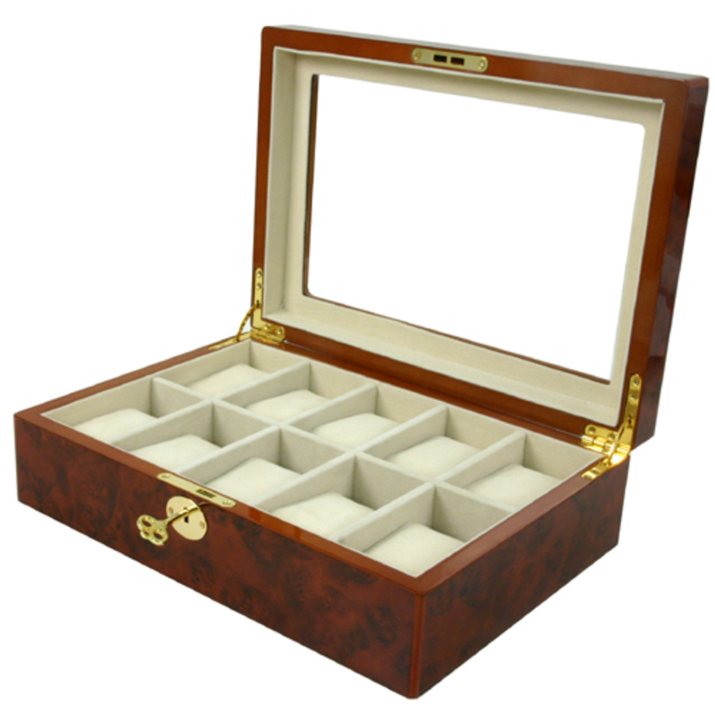 10 Watch Box Clearance Glass Window Large Cushions Burl Wood Key