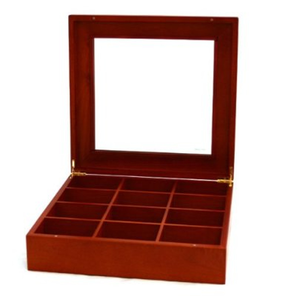 Tie Box Storage Handcrafted 12 Compartment Burl Wood Finish