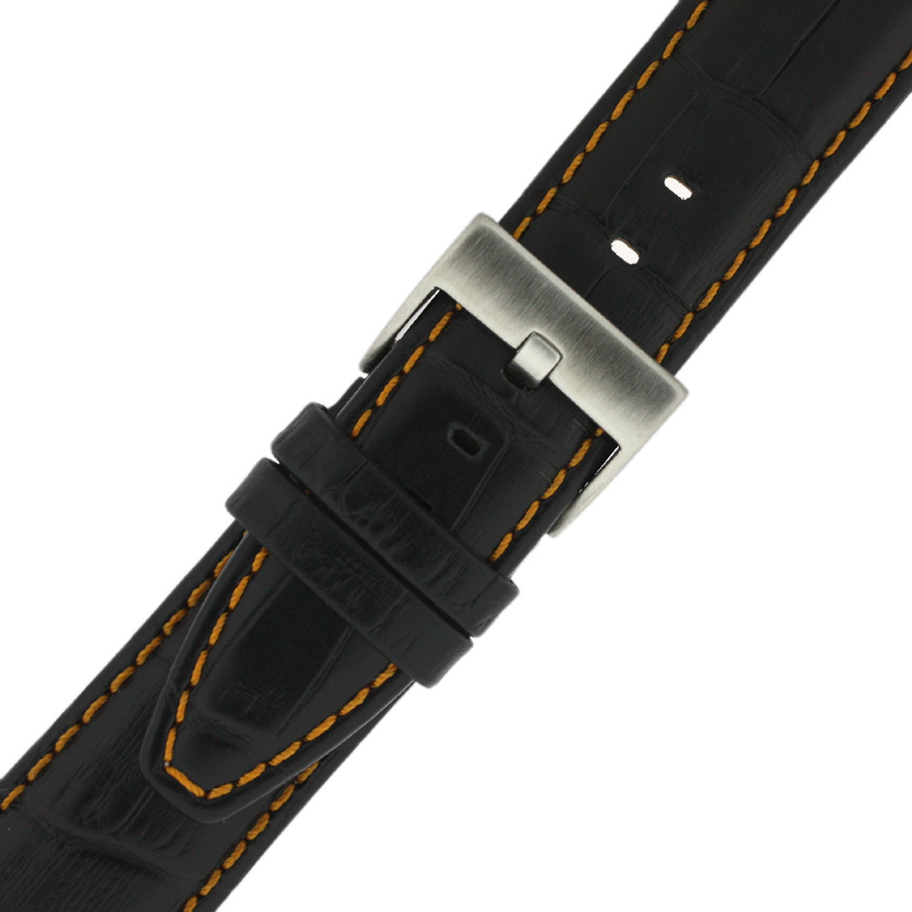 Black Leather Watch Band with Crocodile Grain with Orange Stitching - Buckle View