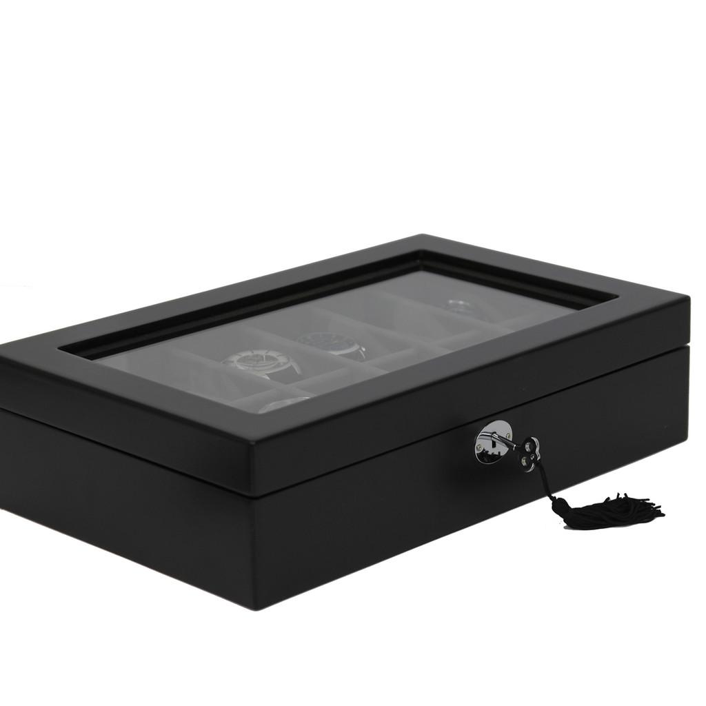 Watch Box Black 12 Watch Glass Top Tech Swiss TSBOXBLK12 - Main