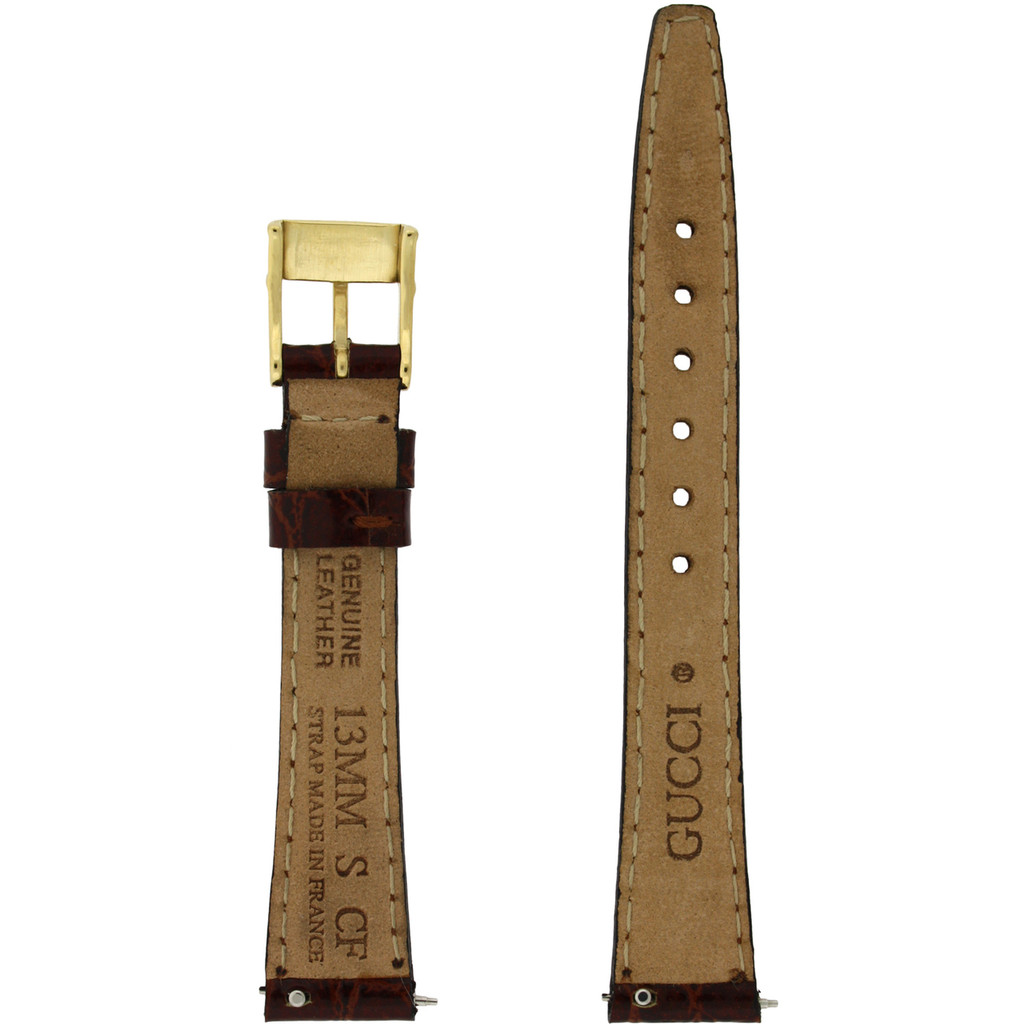 Gucci Watch Strap 13mm Brown models 2200L 3000L Crocodiledile Grain - Main