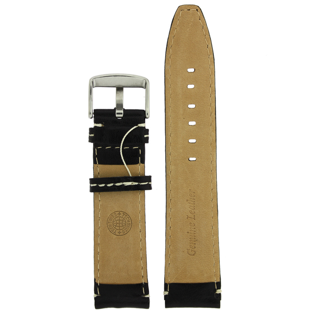 Black Leather Watch band with white topstitch by Techswiss - bottom view - Main