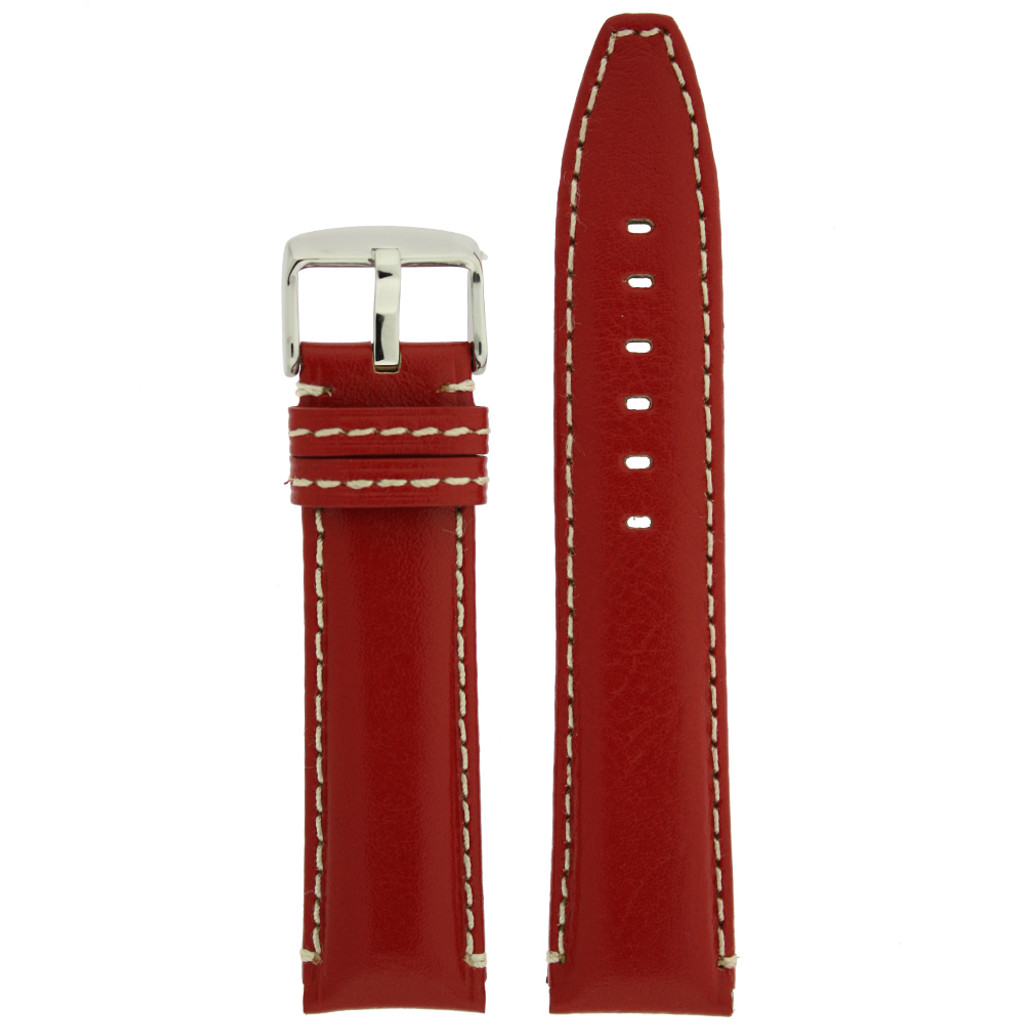 Red Leather Watch Band with white topstitch by Tech Swiss - top view