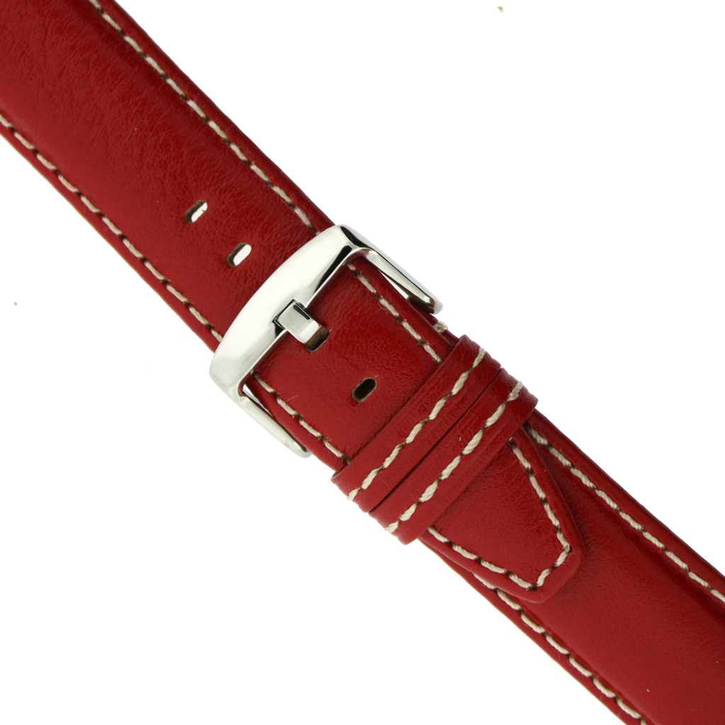 Red Leather Watch Band with white topstitch by Tech Swiss - buckle view - Main