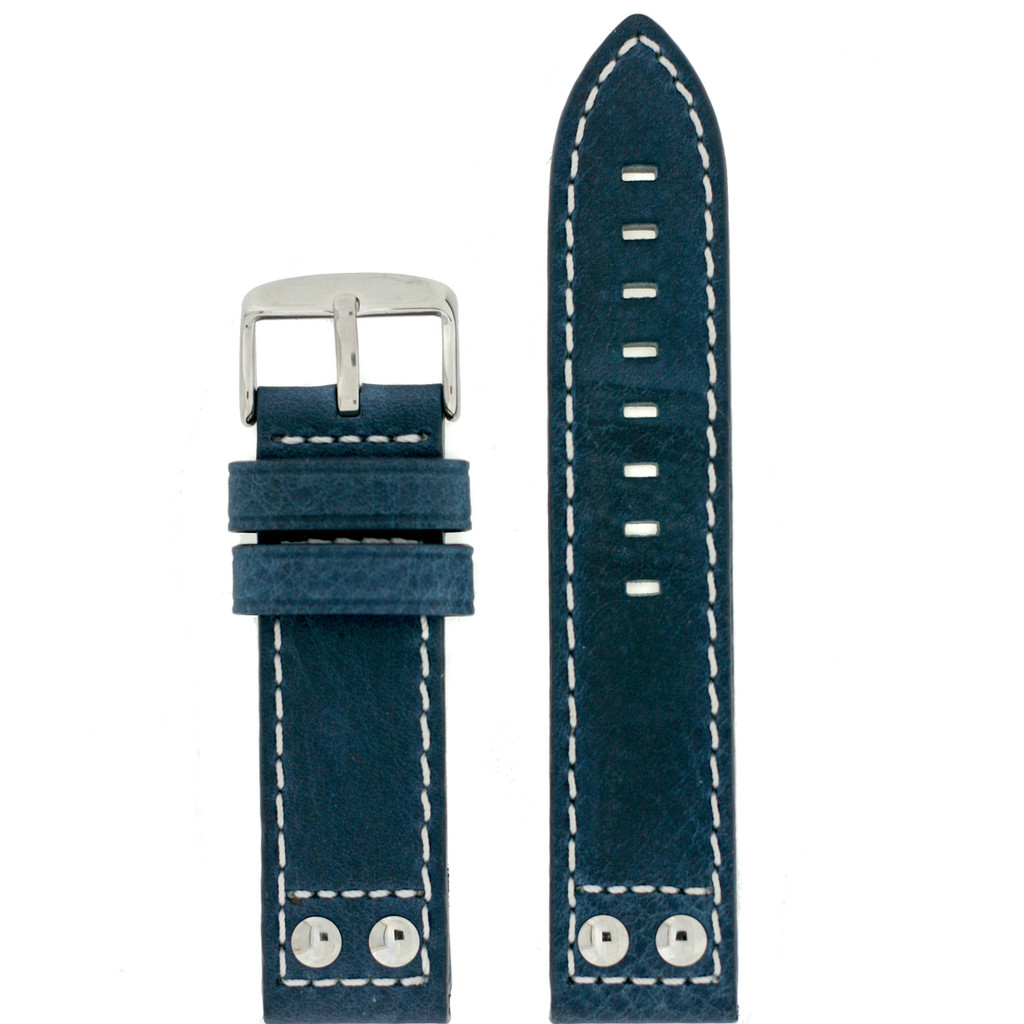 Leather Pilot Watch Band in Blue - Top View