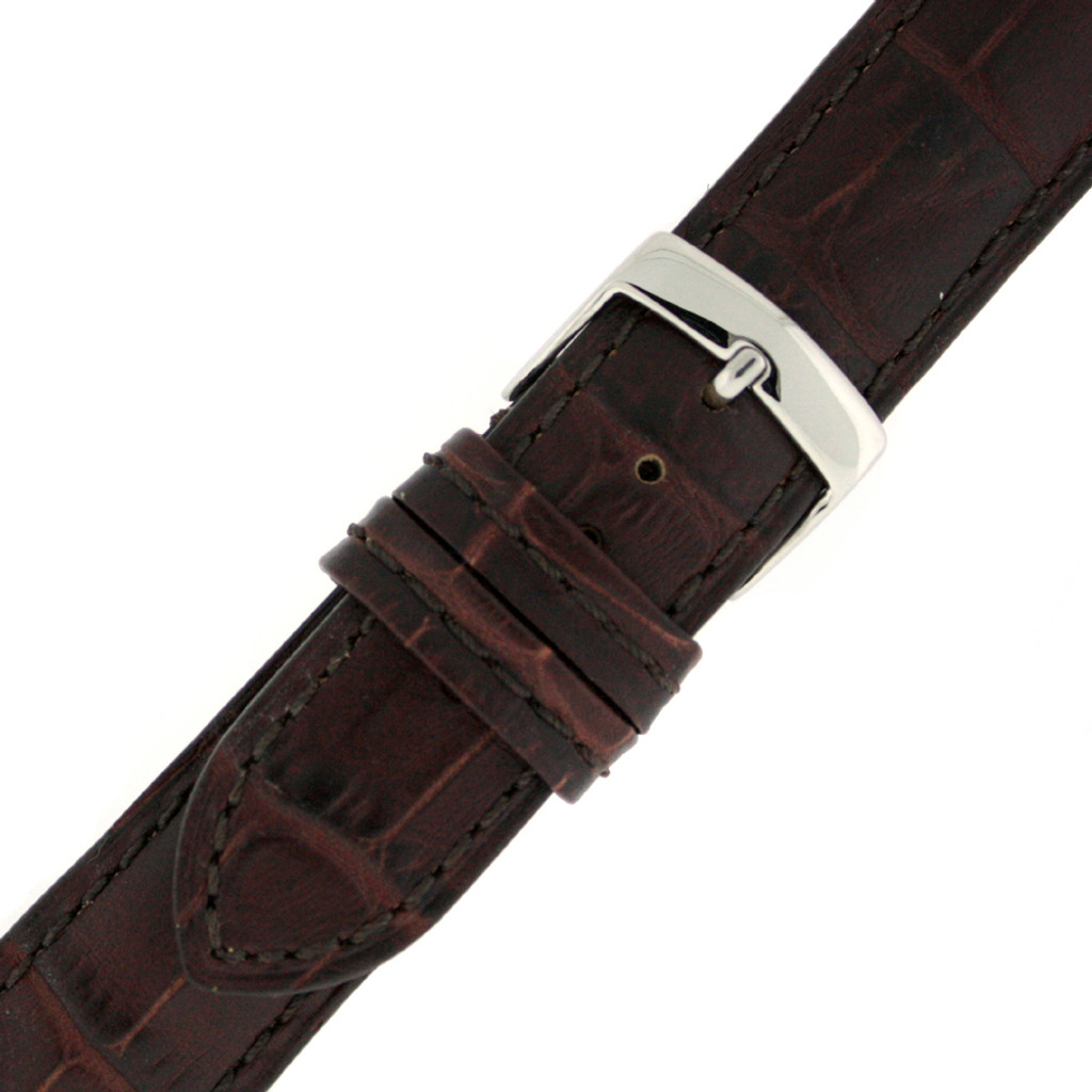 Brown Alligator Grain Leather Watch Band by Tech Swiss - Buckle View - Main