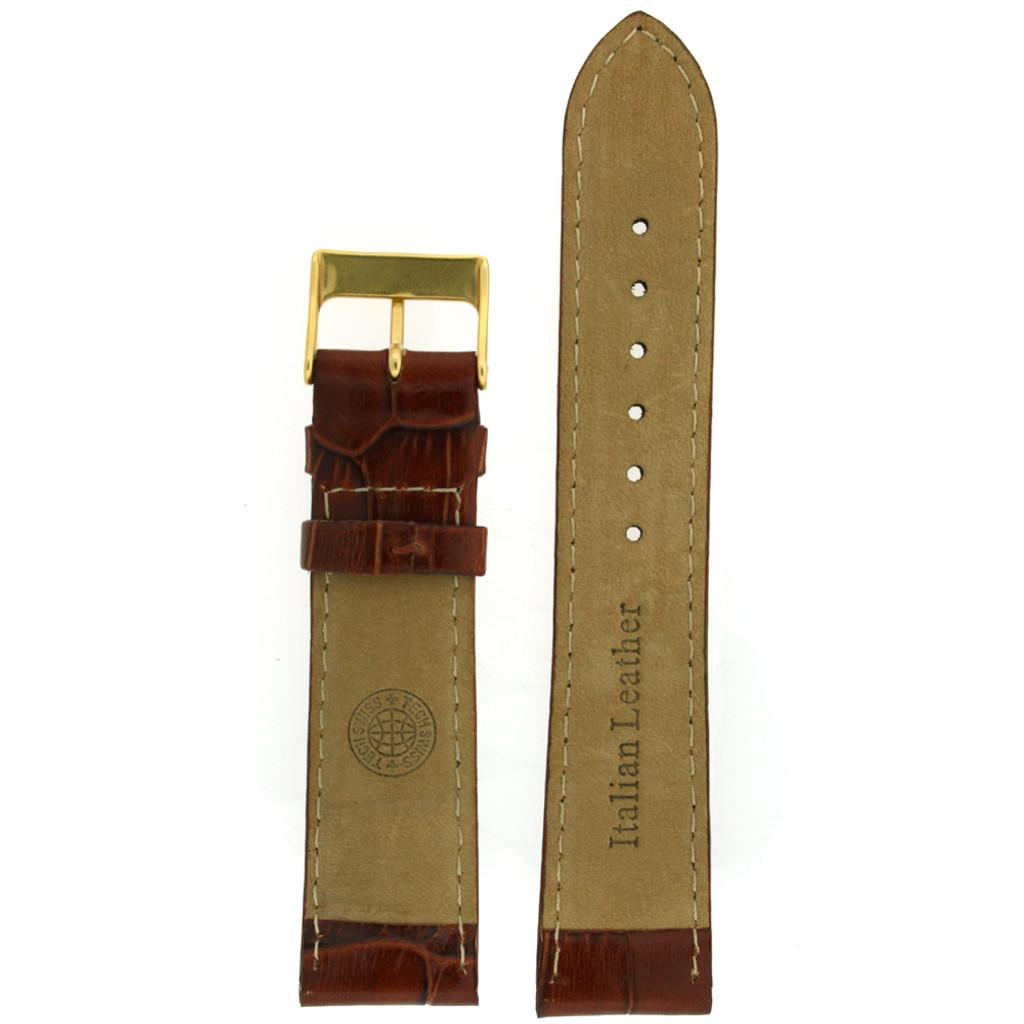 Dark Brown Leather Watch Band with Crocodiledile Grain - Bottom View - Main