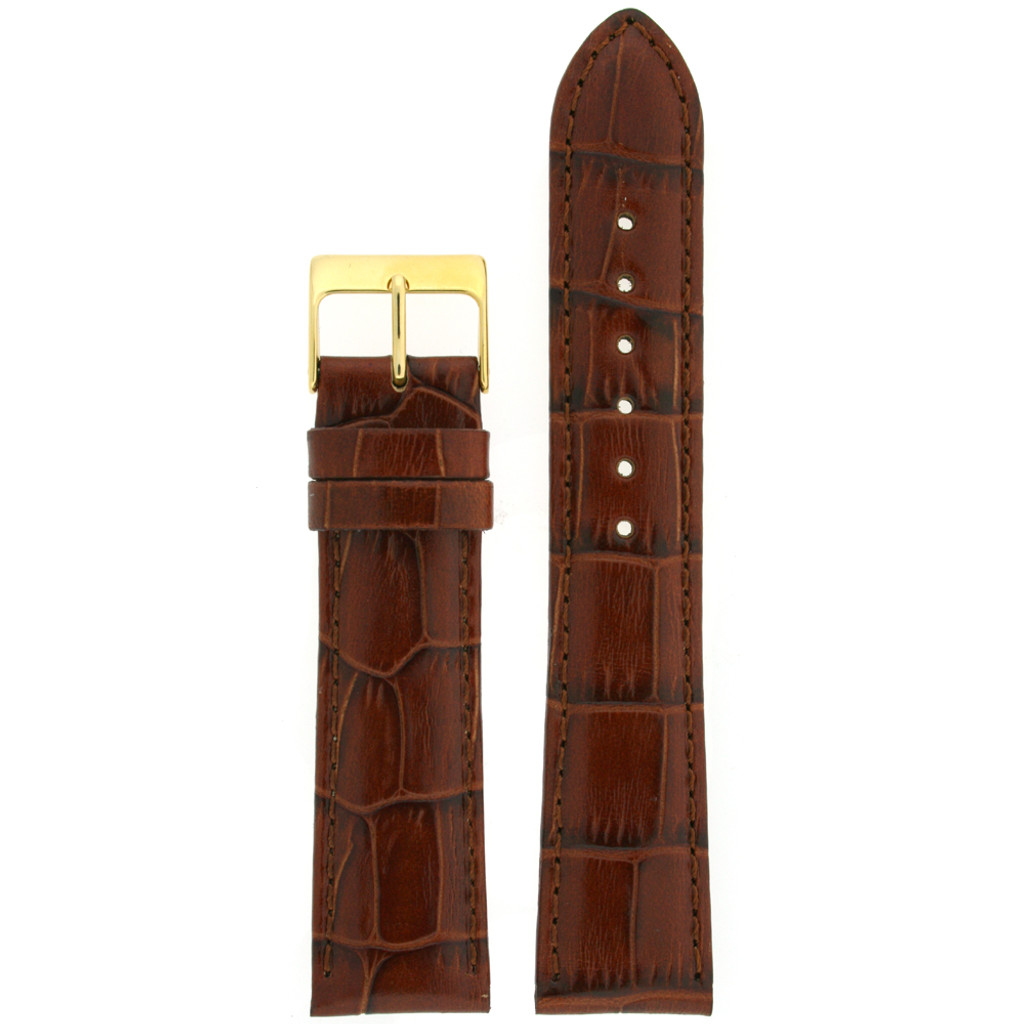 Dark Brown Leather Watch Band with Crocodile Grain - Top View