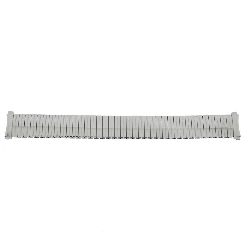 Metal Stretch Silver Color Watch Band with Curved Ends - Main  - Main