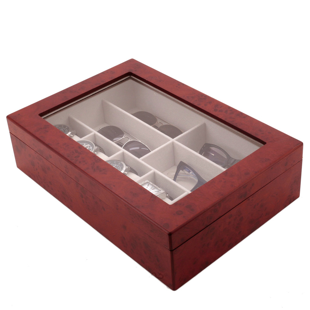 Compact Wood Watch & Jewelry Case for Men | Clear Display Window | Tech Swiss | TSVL405BUR | Closed