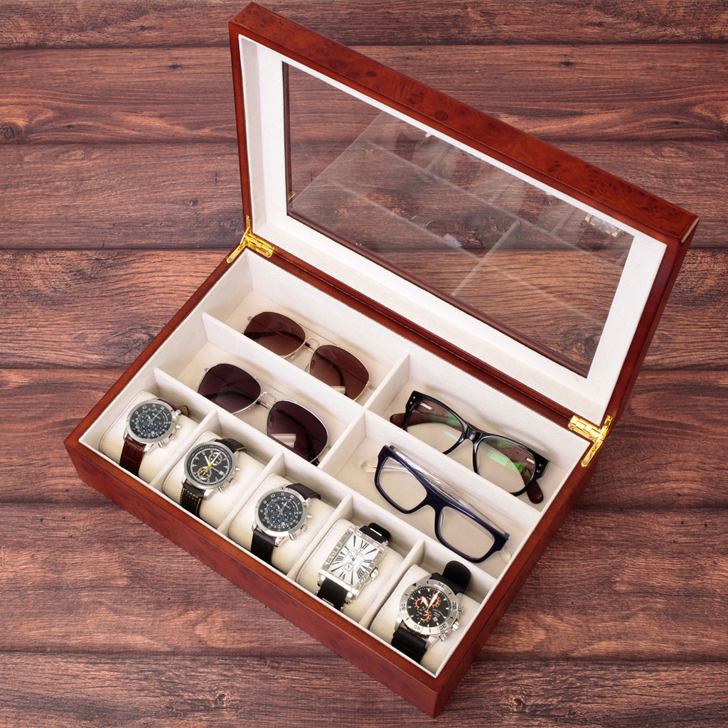 Compact Wood Watch & Jewelry Case for Men | Clear Display Window | Tech Swiss | TSVL405BUR | Sample