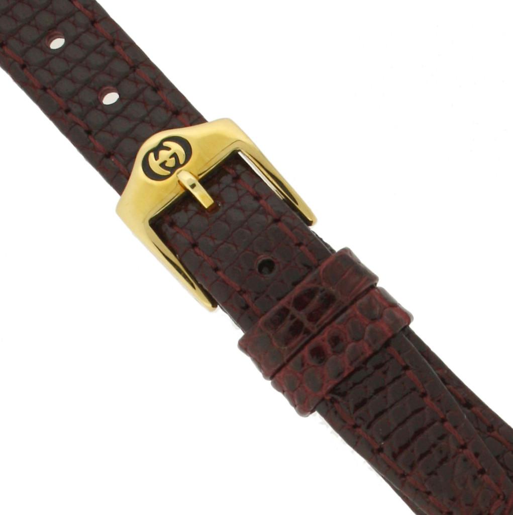 Gucci Watch Band 14mm Burgundy Genuine Lizard 6300L